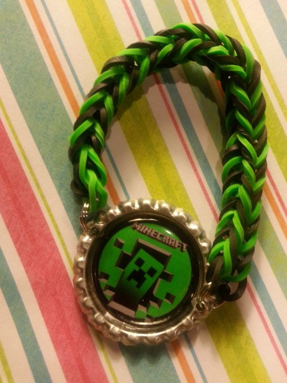Rainbow Loom Bottle Cap Bracelet  Minecraft by tracikennedy, $5.00