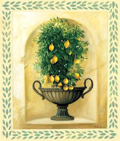 Milieu-du-ciel-Citrons-Fertig-Bild-40x50-Wandbild-Kueche - wandbilder für die küche
