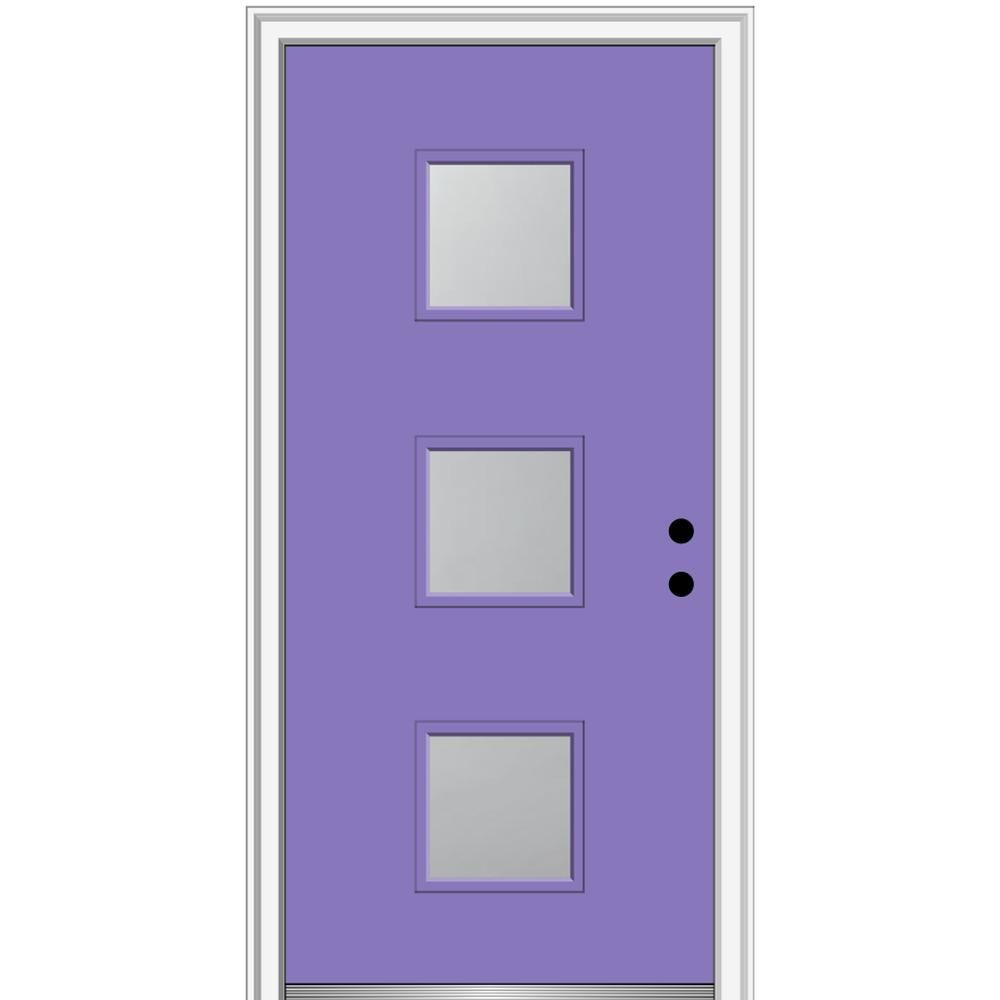Mmi Door 32 In X 80 In Aveline Left Hand Inswing 3 Lite Frosted Glass Painted Steel Prehung Front Door On 6 9 16 In Frame Z0355437l Frosted Glass Paint House Design Aluminum Screen Doors