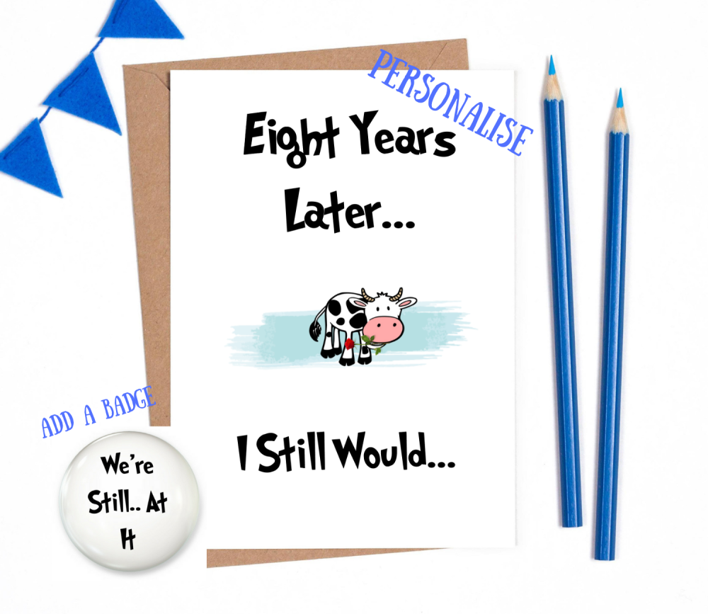 8th year anniversary card personalised wedding