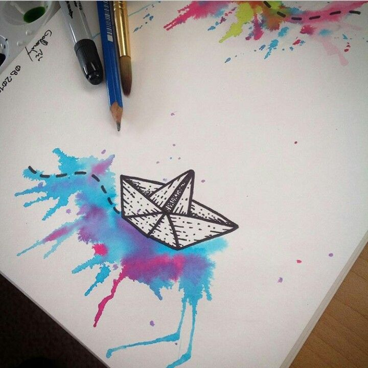 Watercolor origami boat | Ink | Pinterest | Origami boat, Origami ...