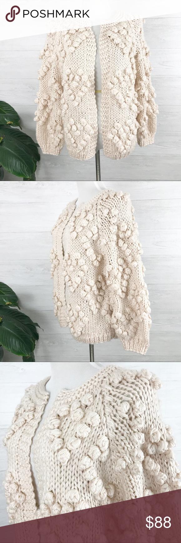 Nwt Chicwish Knit Your Love Cardigan Sweater L Xl Yarn Ball Ball Trim Hand Knitting