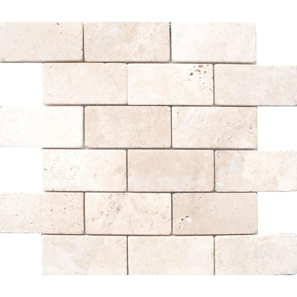 Chiaro Tile Backsplash: MSI Bologna Chiaro 3 In. X 6 In. Tumbled Travertine Floor