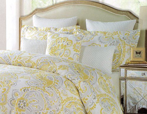 Amazon Com Cynthia Rowley 3pc Duvet Cover Set Large Floral Paisley Gray Grey Mustard Yellow Lux Duvet Cover Sets 100 Cotton Duvet Covers Green Master Bedroom