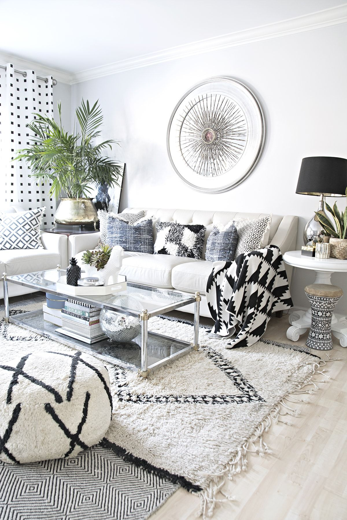 black and white curtains is part of Cottage Living Room Black - My favorite black and white curtains which would look nice in any style of home decor