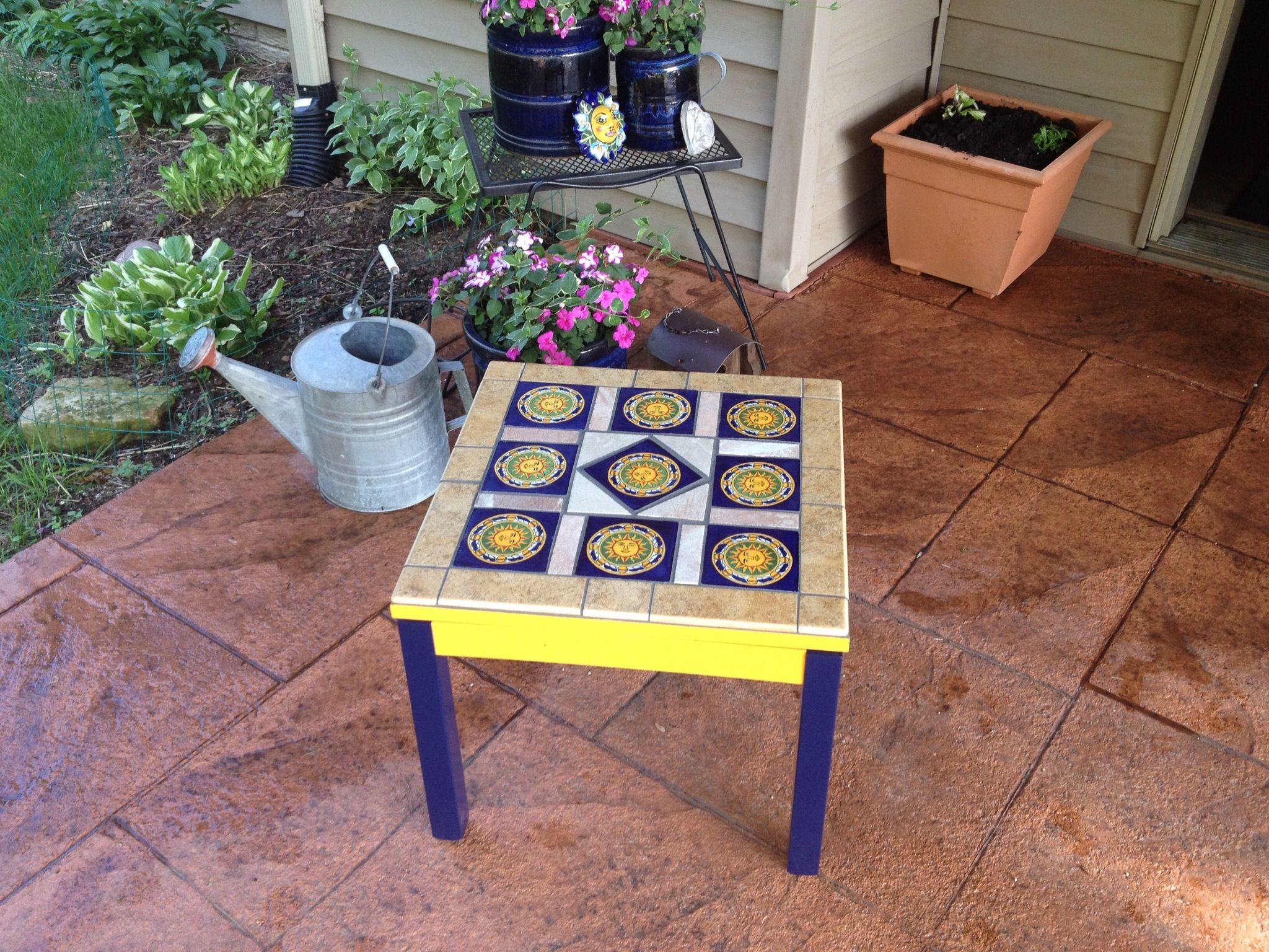 Fun Patio Table Made From Talavera Tiles, Spray Paint, And Leftover Tiles  From A