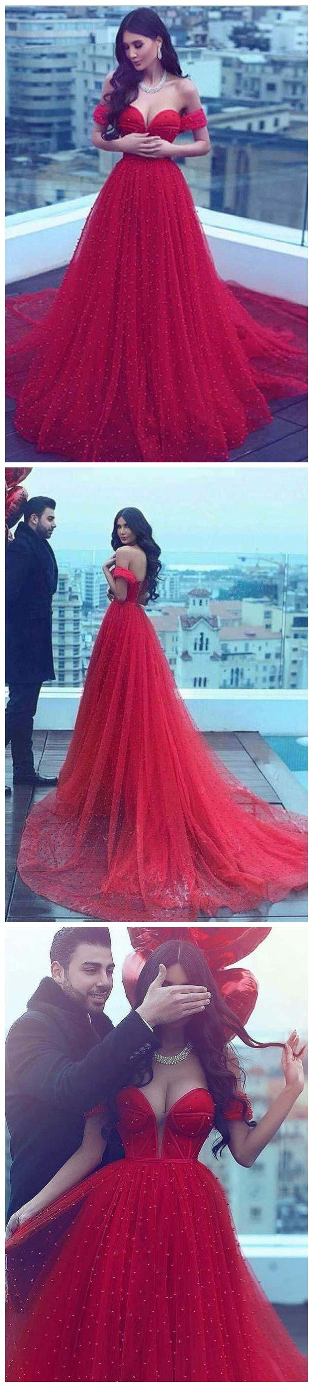 long prom dress aline offtheshoulder red beading prom