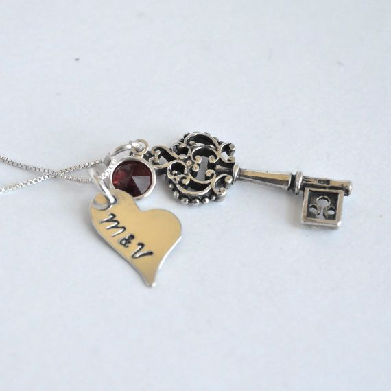 HandStamped Key Necklace with Initials on Heart by DesignMeJewelry, $38.00