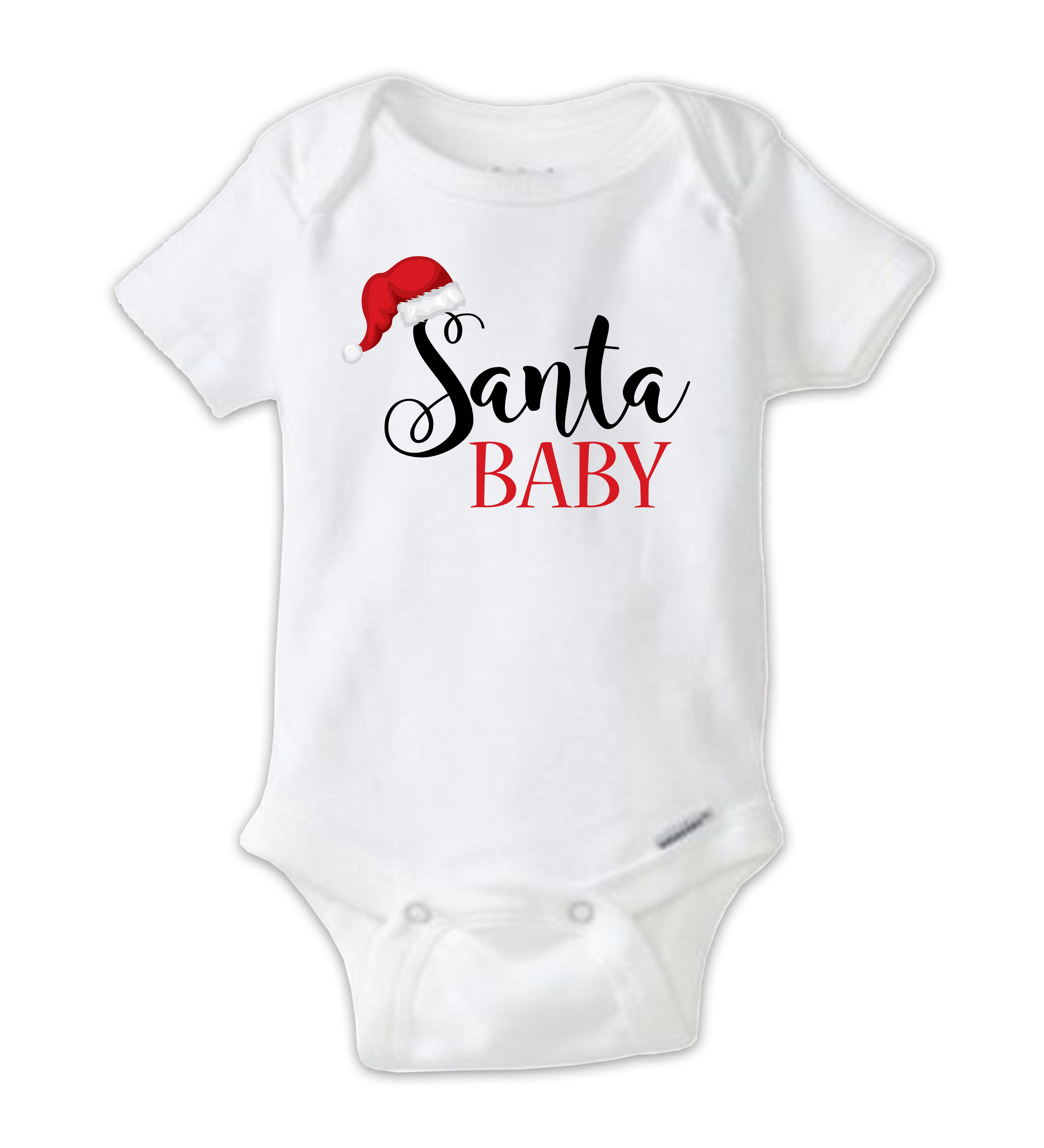 Santa Baby Christmas Onesie Baby Bodysuit, Funny Christmas Onesies ...