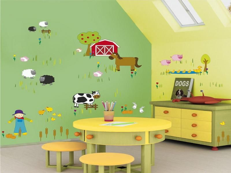 green and yellow children room decorating ideas | Child Care Center ...