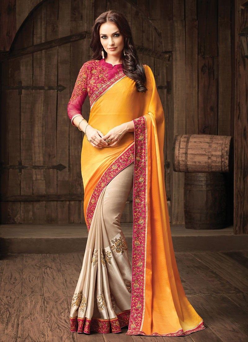 3ac7d14865090 Shop Online Yellow Beige Chiffon  HalfAndHalfSaree  Chennaistore.com Designer  Saree Blouses
