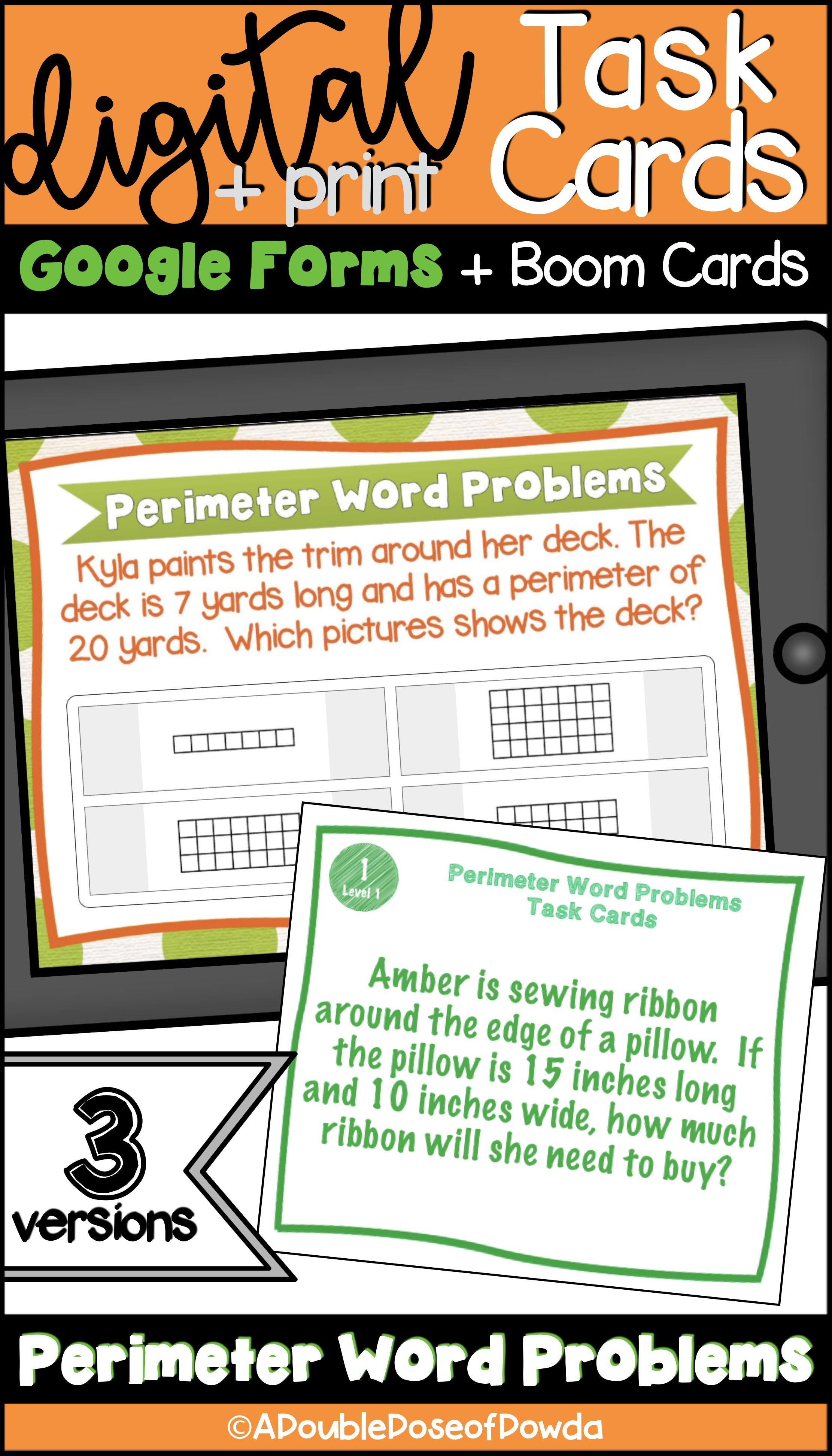 Perimeter Word Problems Digital Amp Print Bundle And