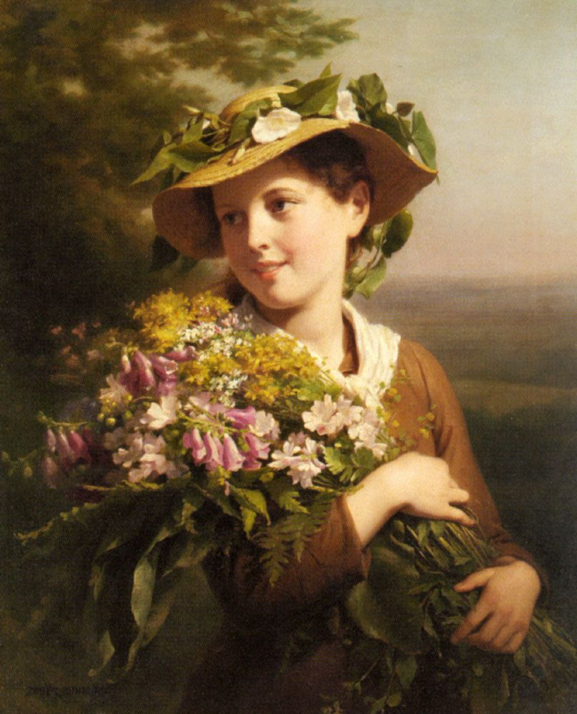 "Fritz Zuber-Buhler (1822-1896) A Young Beauty holding a Bouquet of Flowers  Oil on canvas  73 x 59.1 cm (28½"" x 23¼"") Private collection"