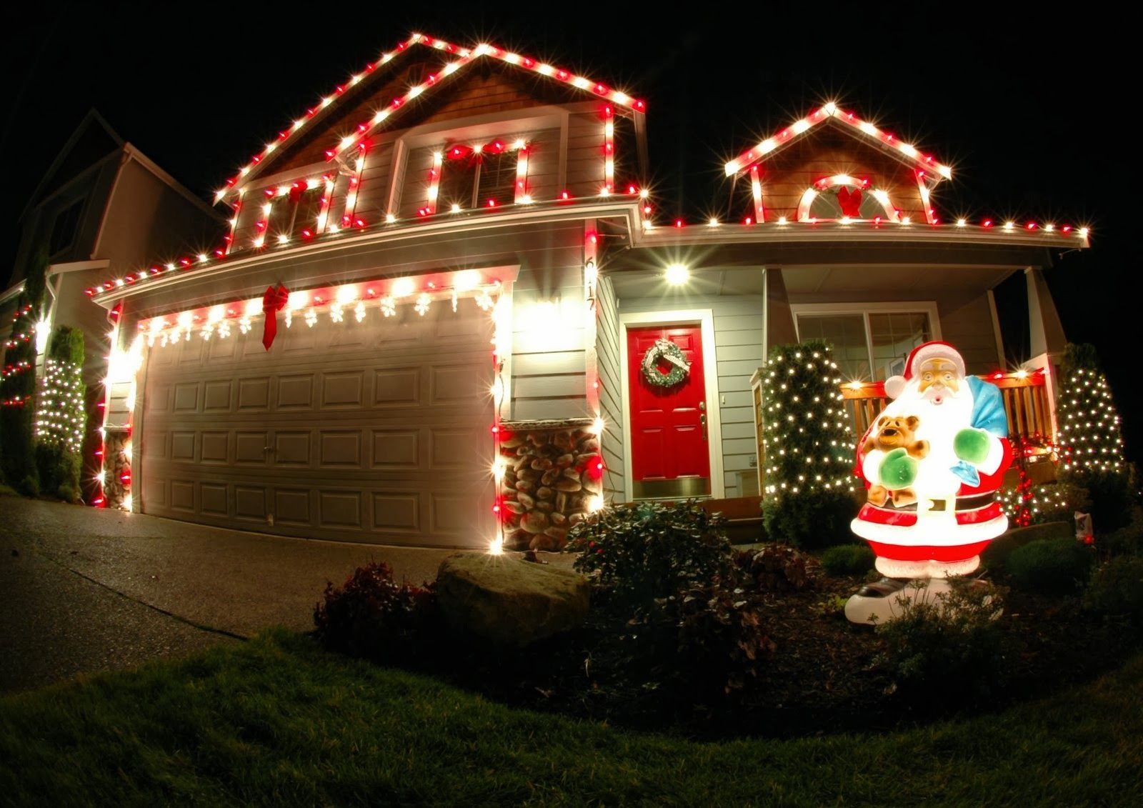 Outdoor Light Ideas Christmas Exterior Xmas Light Ideas Red And White Colored Outdoor