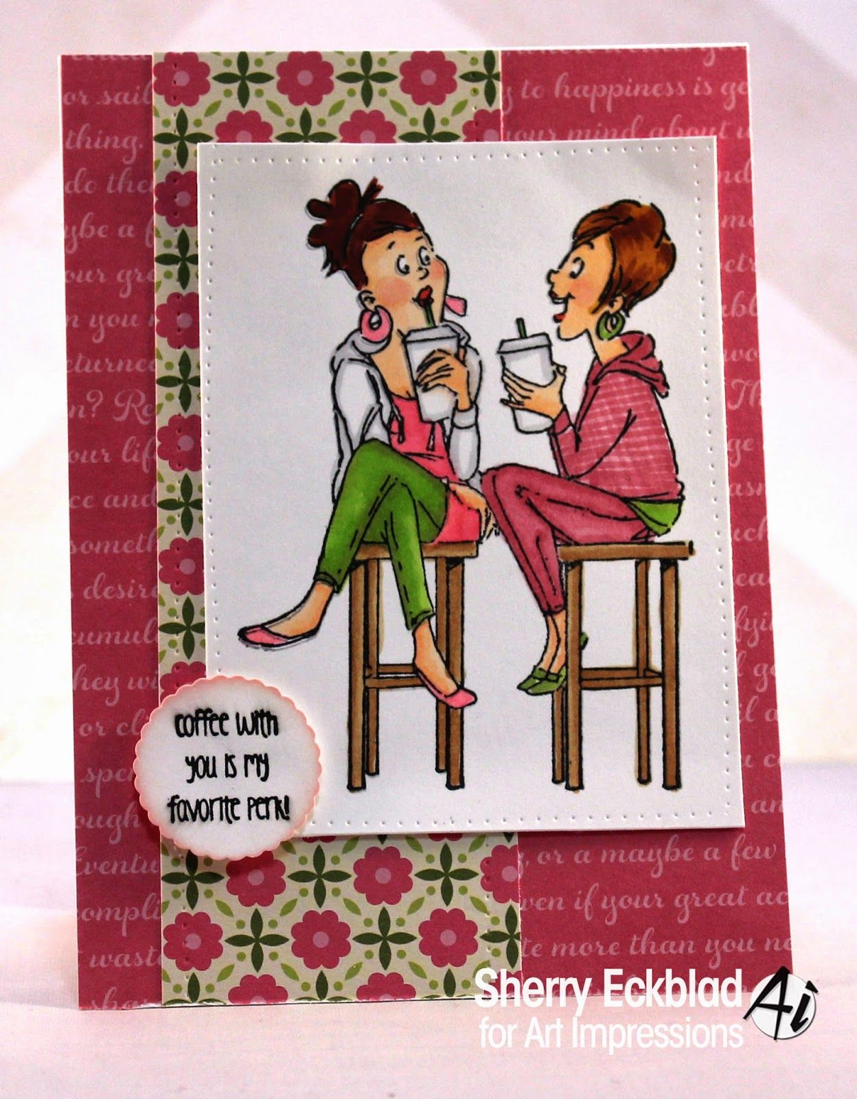 Art Impressions Coffee BFFs Cling Rubber Stamp Set