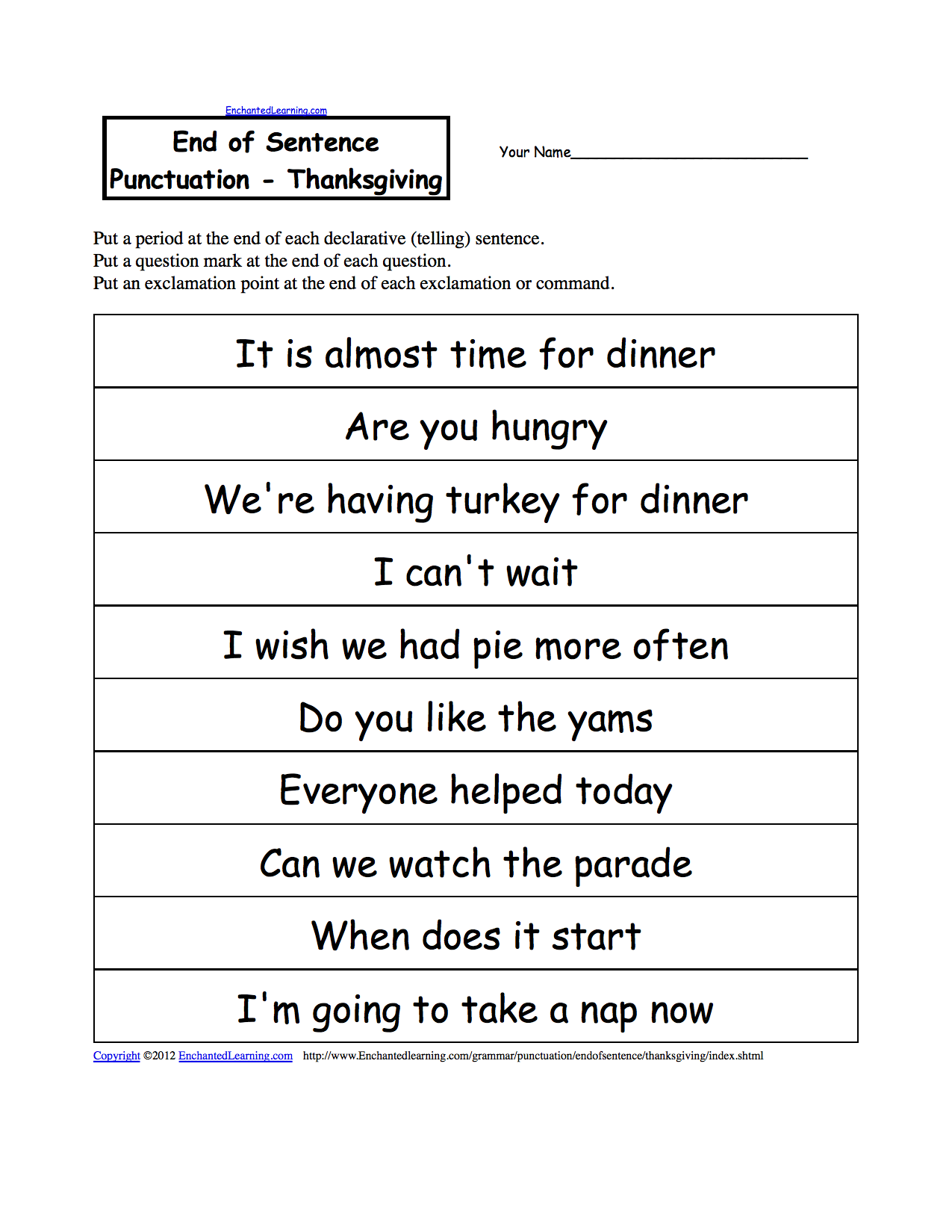hight resolution of End of Sentence Punctuation Thanksgiving   Punctuation worksheets