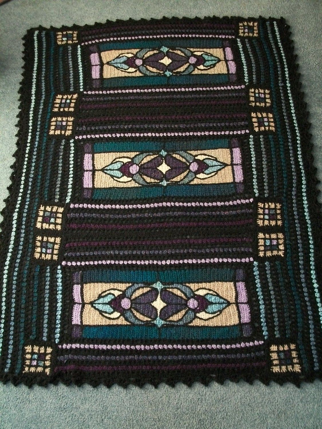 Crocheted Stained Glass Afghan 21999 Via Etsy Crochet Afghans