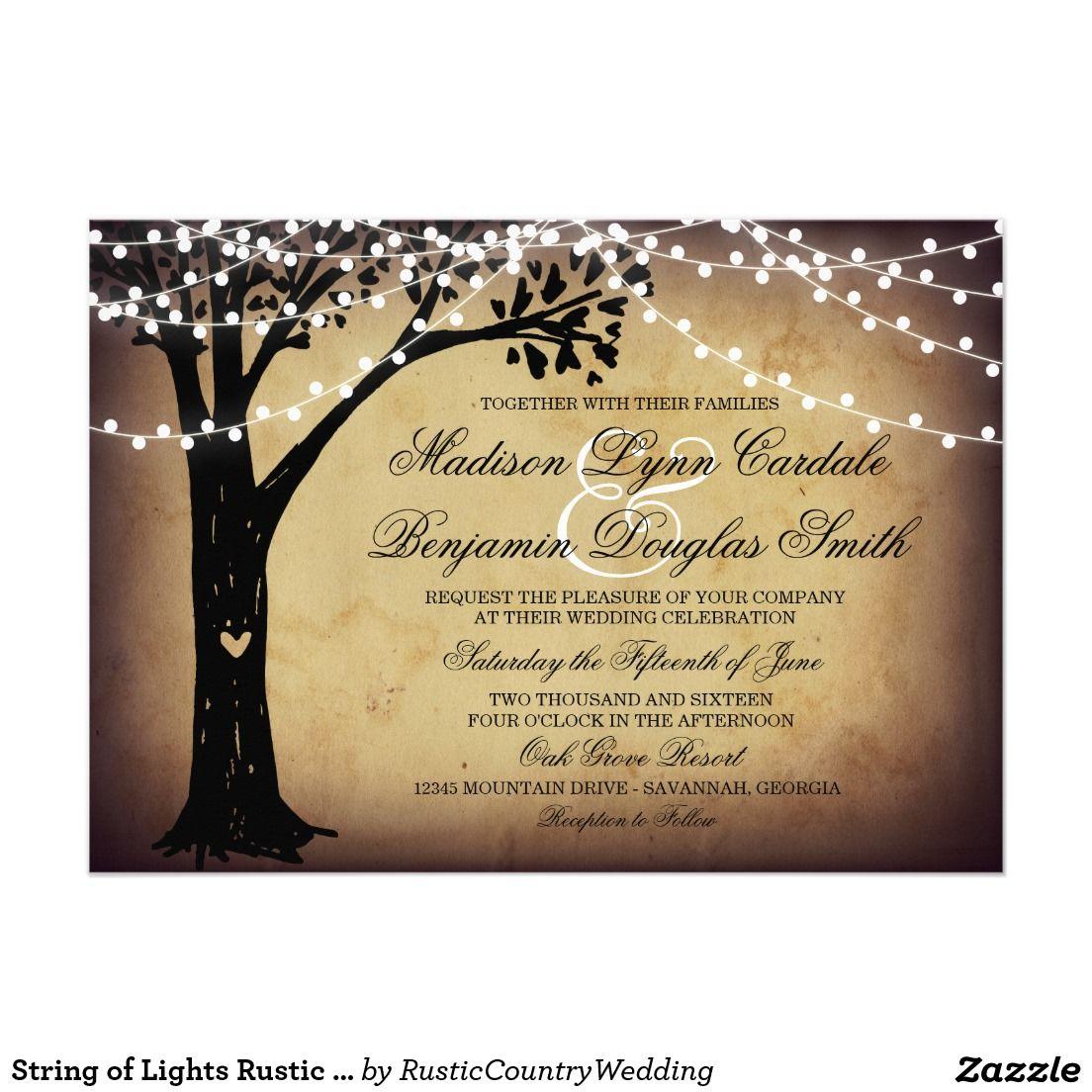 String of Lights Rustic Oak Tree Wedding Invites Vintage Wedding