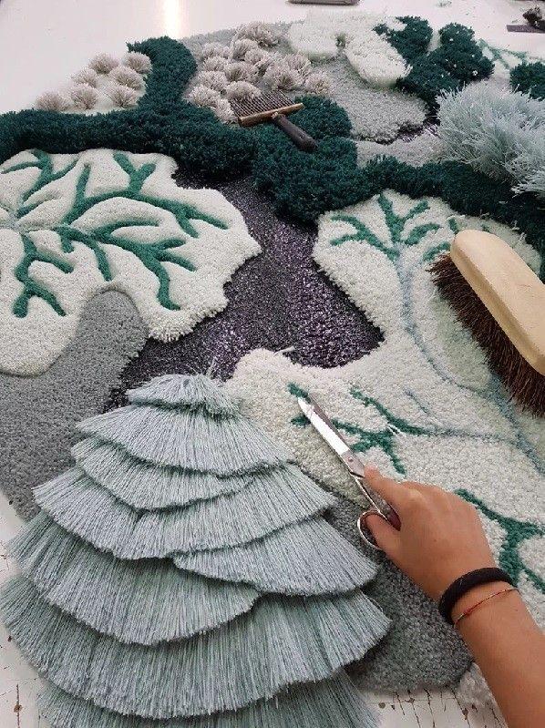 Tapetes trazem reflexão sobre preservação dos oceanos #textiledesign O Studio Vanessa Barragão é um estúdio de design focado em técnicas artesanais  (Foto: Vanessa Barragão/Reprodução) #textiledesign