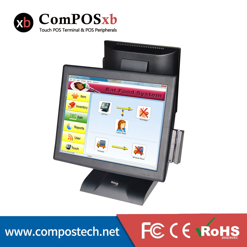 Made In China Dual Resistive Touch Screen Pos System With 15 Inch And 12 Inch Monitor With Card Reader Computer Peripherals