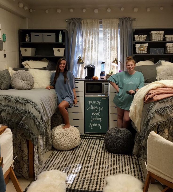 Love this palette look at the storage headboards and the Dorm room setups