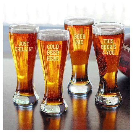 Cold Beer Pilsner Glasses.