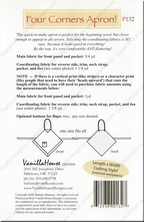 Four Corners Apron sewing pattern from Vanilla House Designs ...