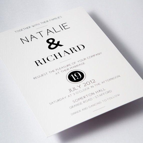 Modern Black White Wedding Invitations Monochrome From Iris Art Designs