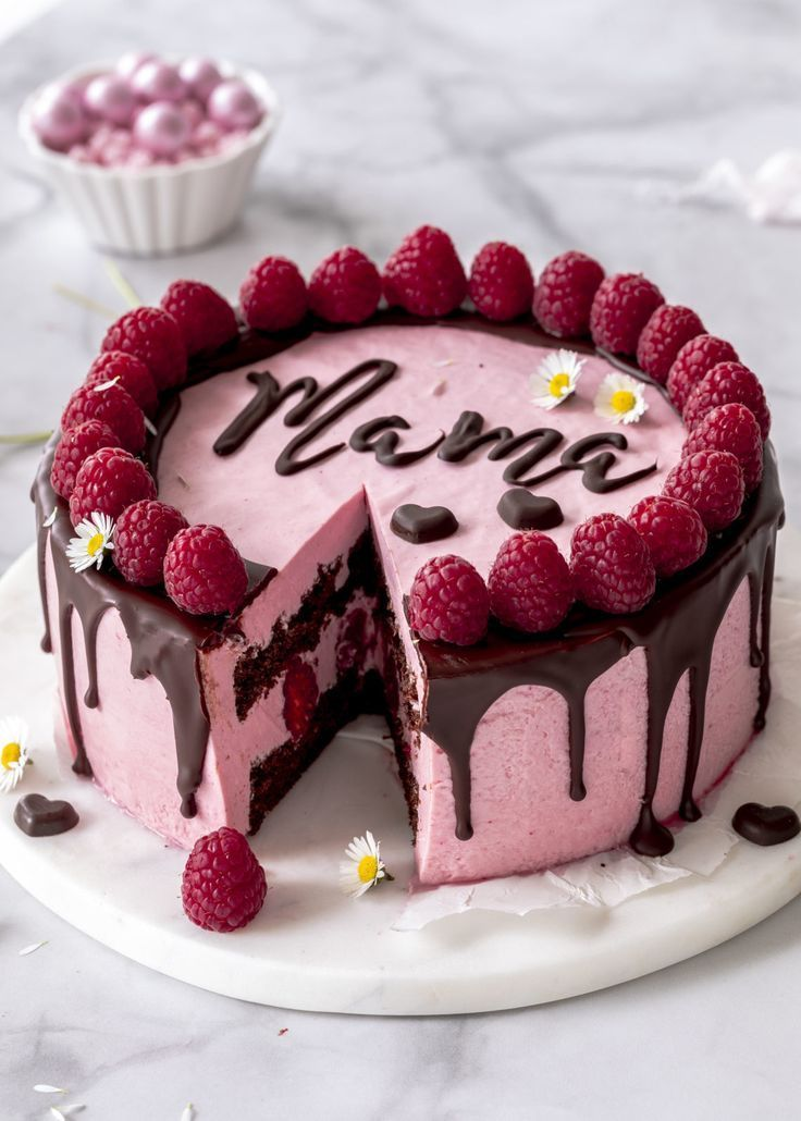 Recipe Bake raspberry mousse cake with chocolate and lettering for Mothers Day  Cakes  candy