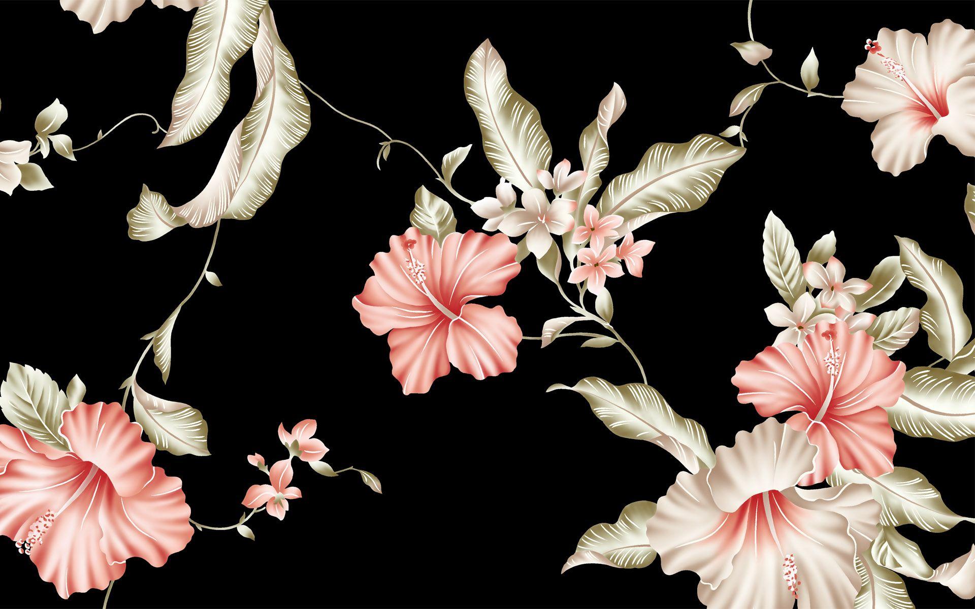 pink flower pattern wallpaper for desktop