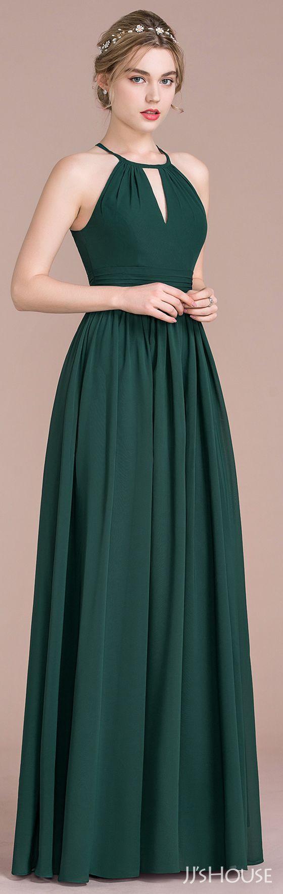 Alineprincess scoop neck floorlength chiffon bridesmaid dress