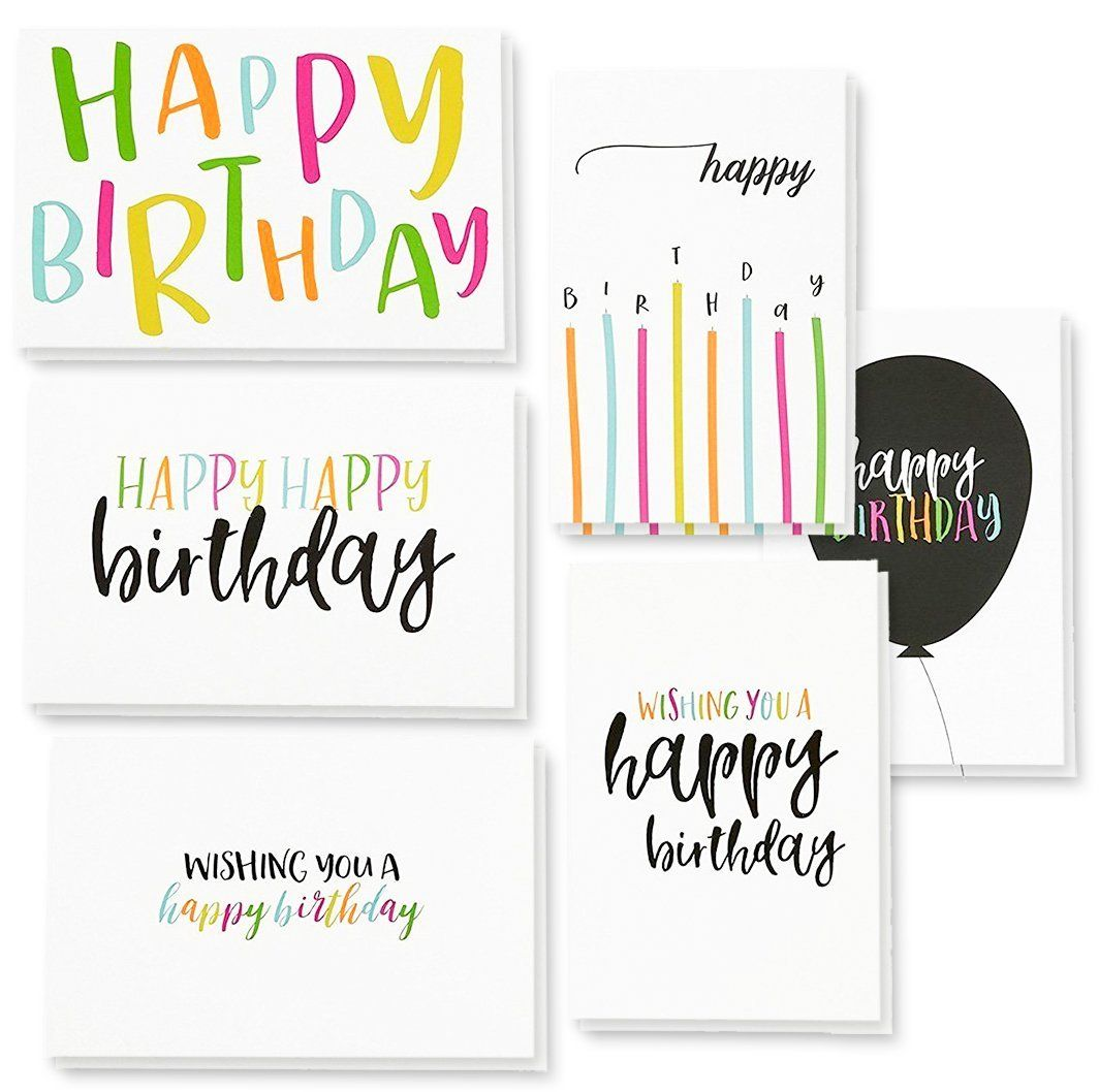 Amazon Com 48 Pack Happy Birthday Greeting Cards 6 Handwritten Modern Style Colorful Designs Bu Homemade Birthday Cards Happy Birthday Design Birthday Cards