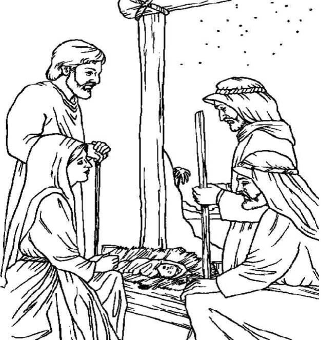 realistic pics of the nativity | bible coloring pages