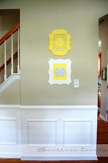 Great DIY Fake Wainscoting   Chair Rail Along The Wall, Glue Trim Squares  Underneath, Paint