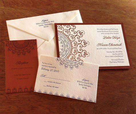 Letterpress Indian Wedding Invitation Cards Invitations By Ajalon S Lalita For Brides Photo