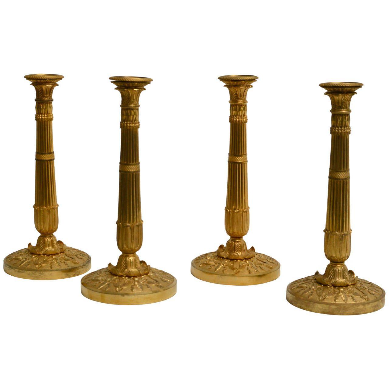 Rare Set of Four Large Gilt Bronze Candlesticks Attributed ...