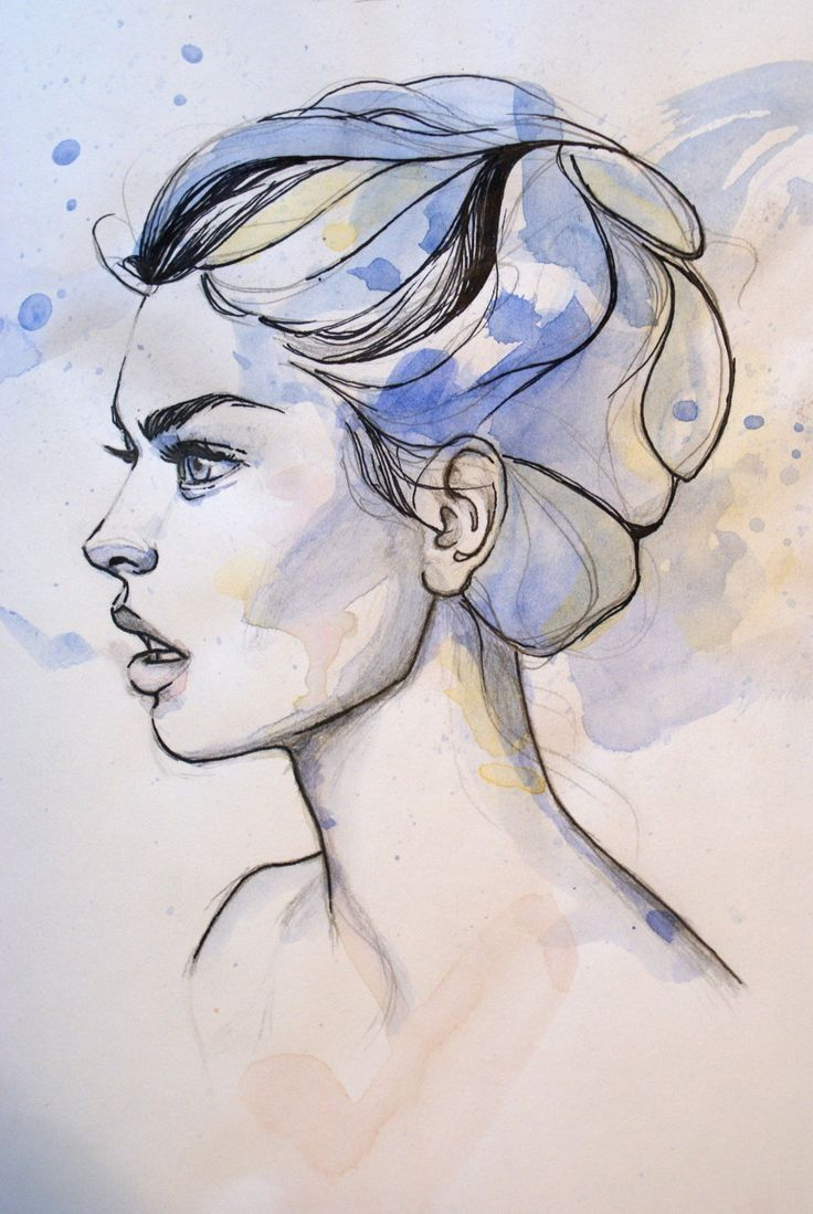 Watercolor With Pen Portrait Drawings Art