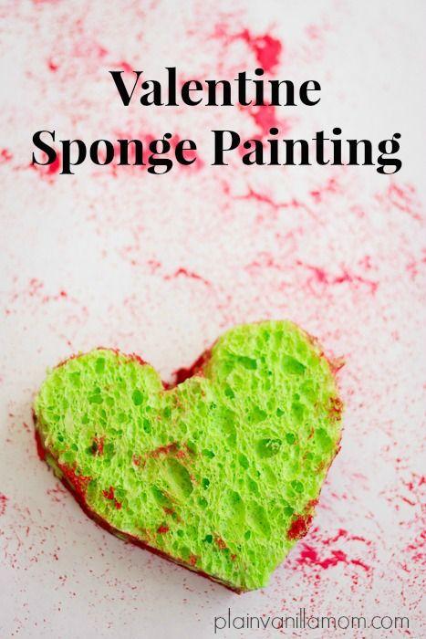 Valentine Sponge Painting Valentine S Day Pinterest Valentine