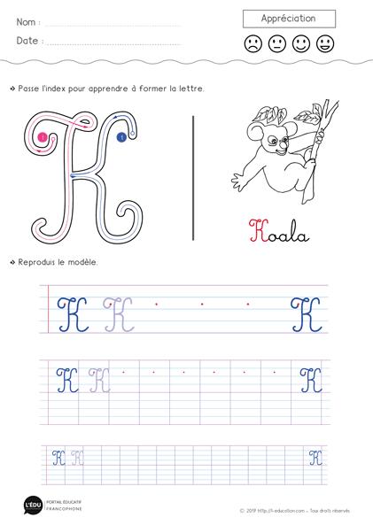 lettre k majuscule Apprendre à écrire la lettre K majuscule cursive | Lettres  lettre k majuscule