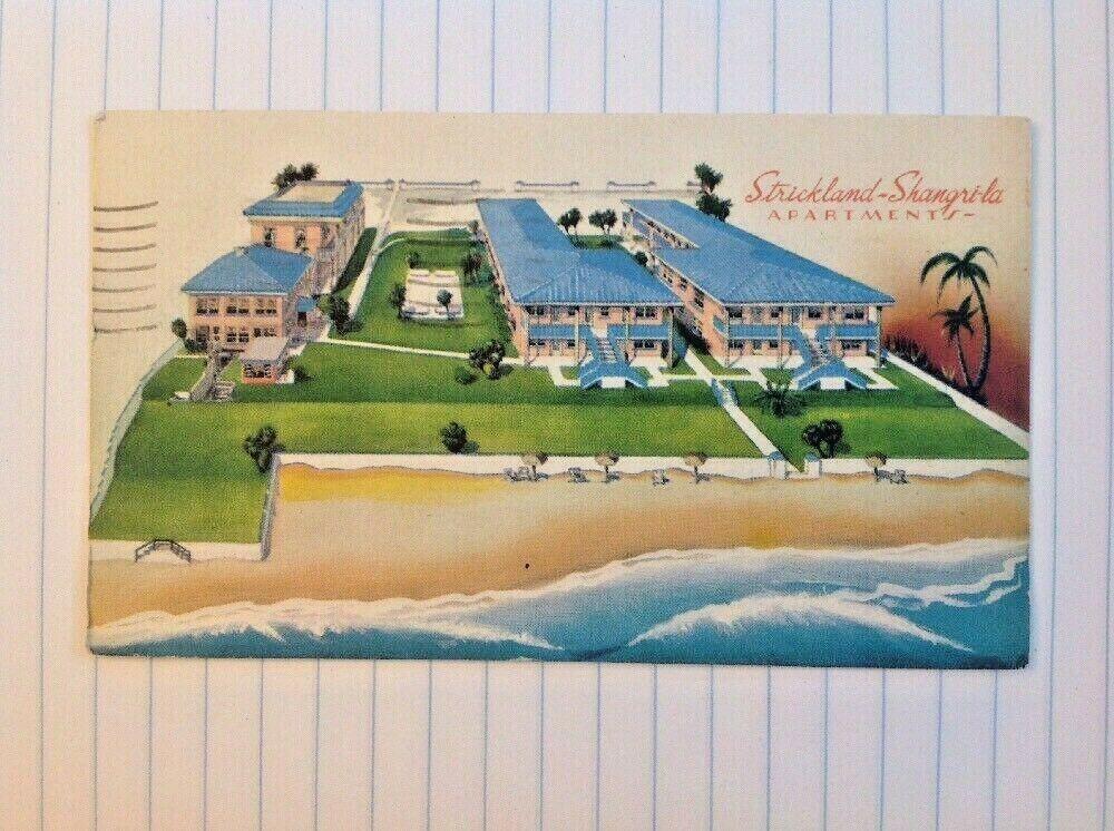 Postcard Daytona Beach Florida Strickland S Shangri La Apts Motel Daytona Beach Postcard Daytona Beach Florida
