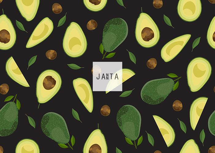 Avocado seamless pattern whole and sliced on black