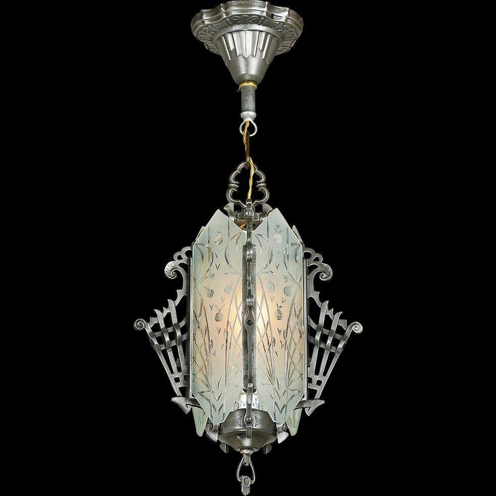 1930 s Art Deco Hall Light Cut Glass Vintage Pendant Ceiling Fixture
