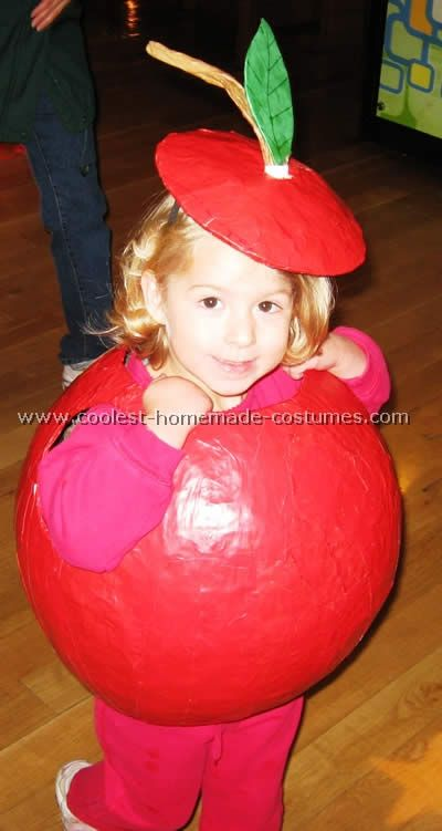 worm apple adult costume with