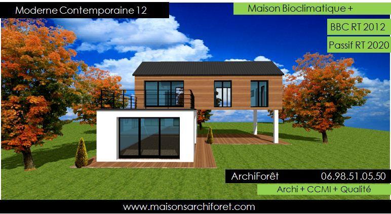 moderne contemporaine 12 plan maison piloti ossature bois et crepi - Plan Maison Moderne Contemporaine