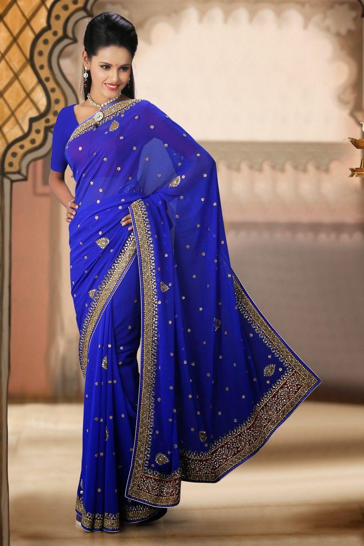 fancy-royal-blue-embroidered-saree-gf133555-b9b.jpg 1,000×1,500 ...