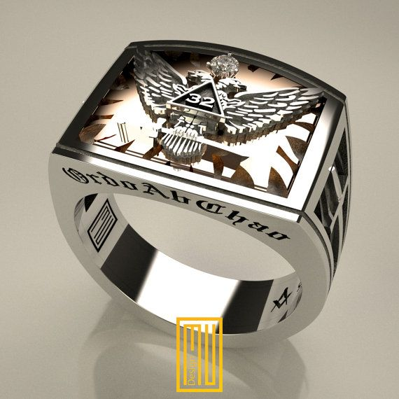 Scottish Rite Rings 32 Degree Unique Design for Men 14K Rose gold, 925K Sterling Silver with zirconia gemstone (HMY2014-NMJEGS)