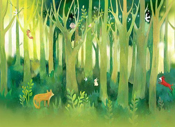Baum Wald Fantasy Kinderzimmer Tapete Baby Zimmer Von DreamyWall
