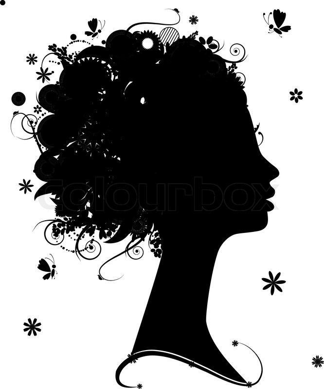 Female Profile Silhouette Floral Hairstyle For Your Design Silhouette Silhouette Clip Art Female Profile