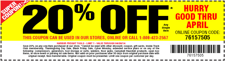 FREE TOOLS at Harbor Freight Tools during the month of