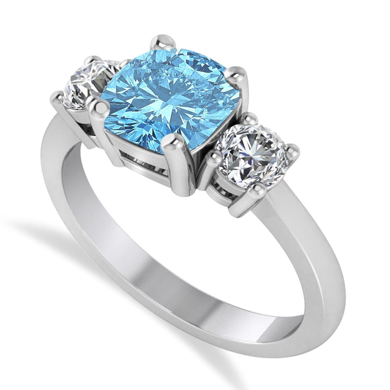 Cushion & Round 3Stone Blue Topaz & Diamond Engagement